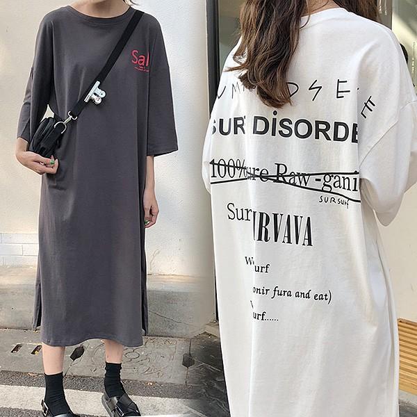 ワンピース 長袖 Tシャツワンピ ロング丈 バック...