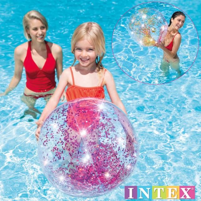 INTEX インテックス ビーチボール ラメ入り 浮き輪 うきわ ピンク ゴールド BIG 大き目 可愛い おしゃれ プール 海 海水浴 58070