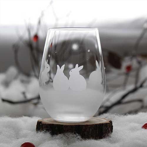うさぎモチーフのタンブラー グラス【vol.2】雪の...
