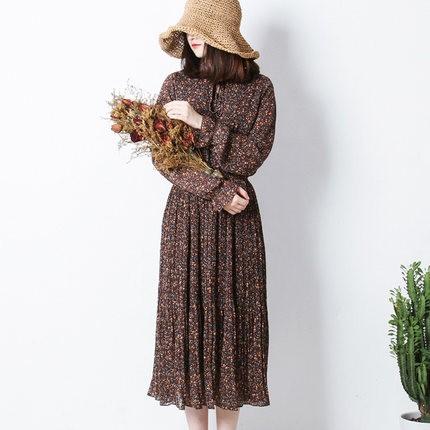 長袖シフォンプリーツスカート