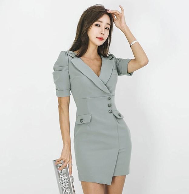 OL風スーツ襟 半袖アシンメトリースリムドレス