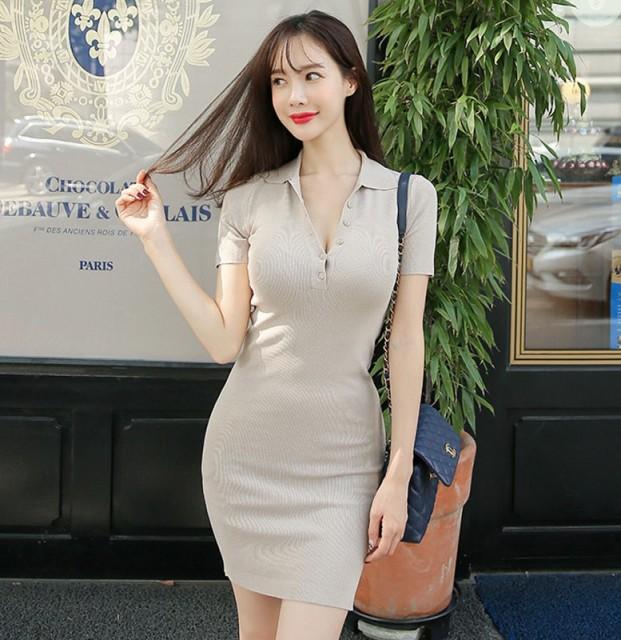 サマードレス シンプルな半袖ニット スリムヒッ...