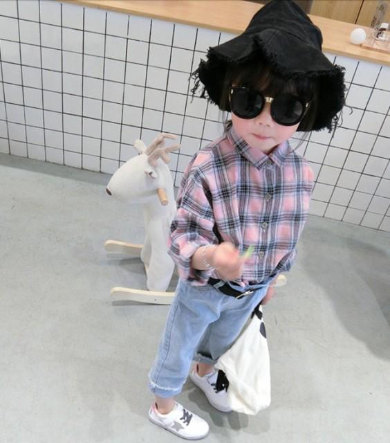 【KIDS】淡い色調のチェックシャツ オールシーズ...