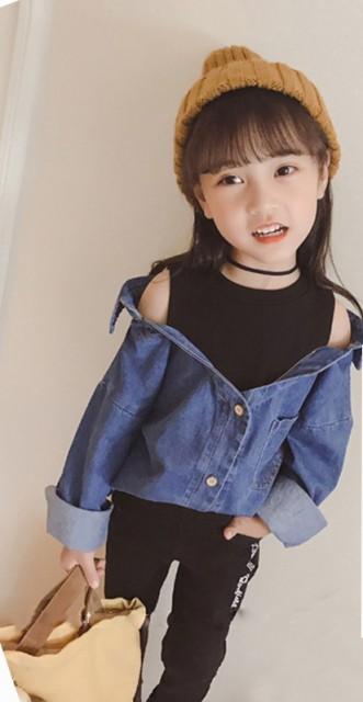 【KIDS】重ね着風デニムシャツ 抜き襟で簡単こな...