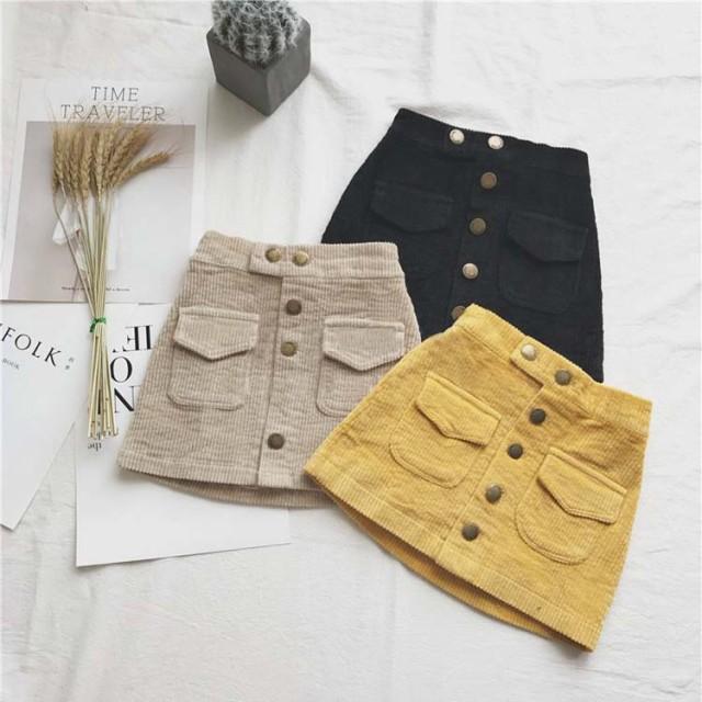 【KIDS】秋冬らしいコーデュロイスカート フロン...