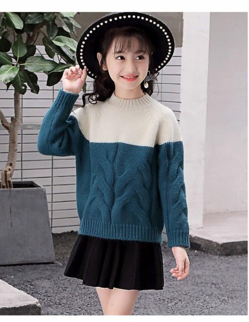 【KIDS】バイカラーセーター 程よいルーズ感