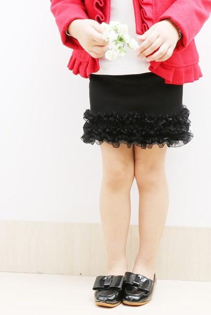 【KIDS】裾のフリルが目を引くミニスカート ニッ...