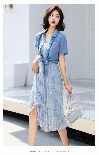 ドレス 2点セット 半袖シャツ シフォン ほんのり...