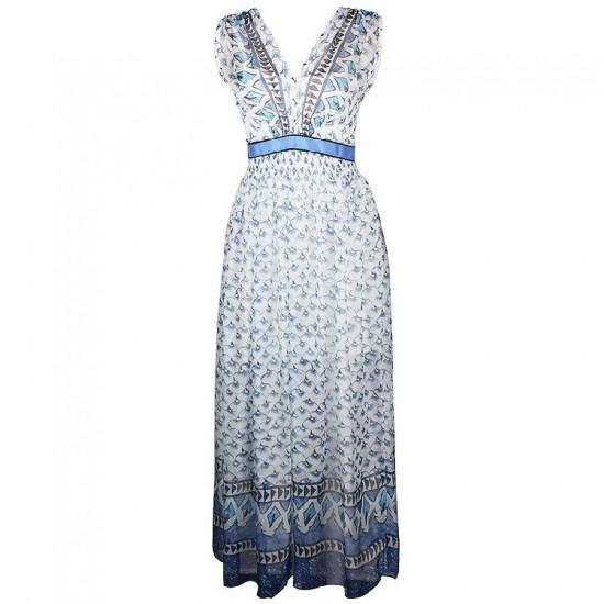 ボヘミアンなリゾート風ロングドレス