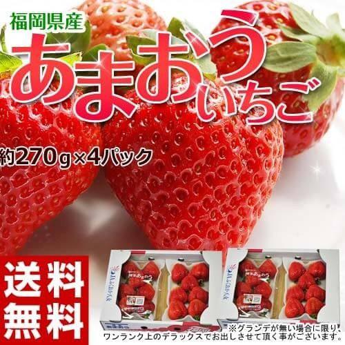 いちご イチゴ 福岡県産 あまおう G(グランデ) 約270g×4P 送料無料 ※冷蔵