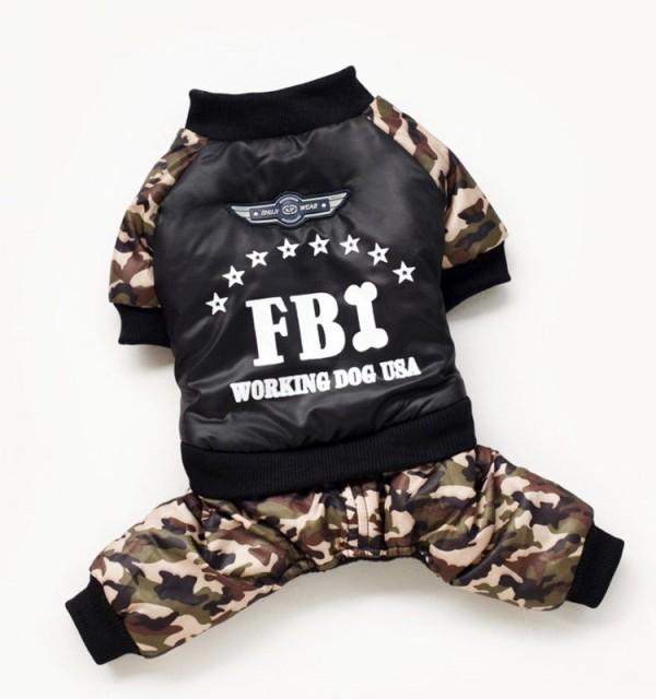 犬の服 前開き FBI捜査官風迷彩柄 暖かい 犬用防...