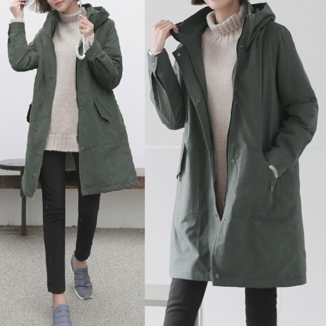 冬新作!ロングジャケット フード ミリタリー調 カジュアル 普段使い 韓国ファッション|au Wowma!(ワウマ)