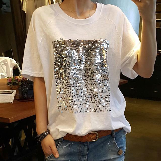スパンコールがオシャレ!大きめTシャツ