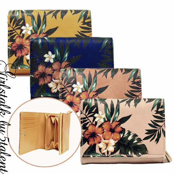 【新作】ハワイアン柄★二つ折り財布♪容量たっぷ...