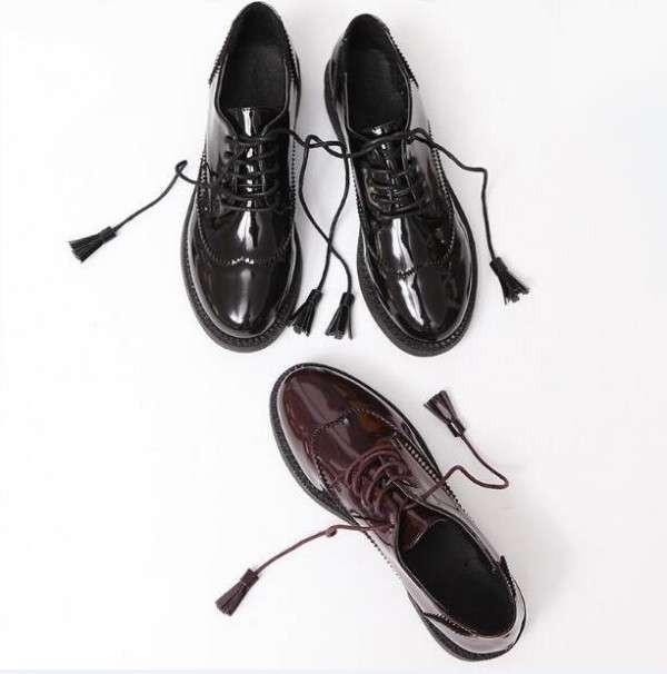 オックスフォードシューズ ローヒール エナメル靴...