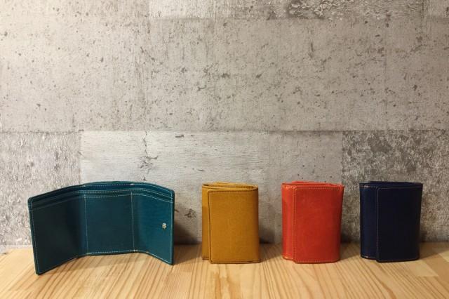 【水牛】カラフル三つ折り財布〈4色展開〉ボック...