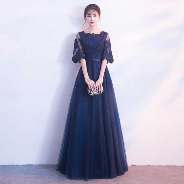 結婚式 ロングドレス 袖あり イブニングドレス カ...