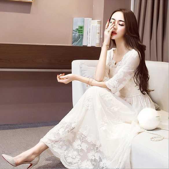 韓国 ワンピース ドレス レディース 袖あり 花柄...