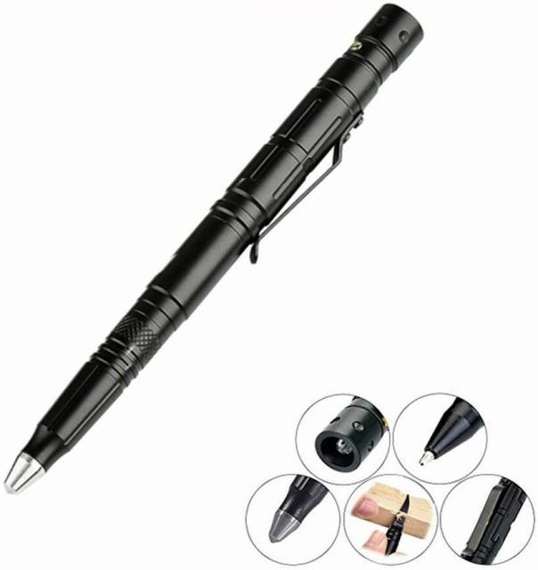 高品質 4in1タクティカルペン LEDライト付き 超小...