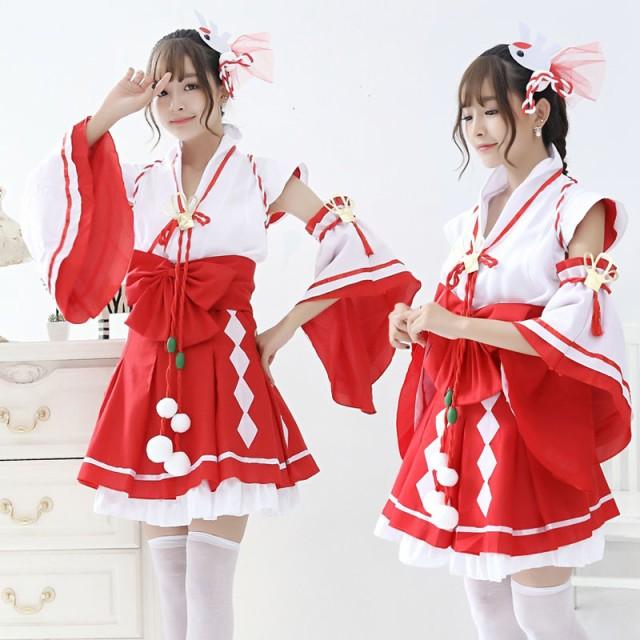【白×赤/4】赤スカート 巫女 みこ コスプレ 衣装...