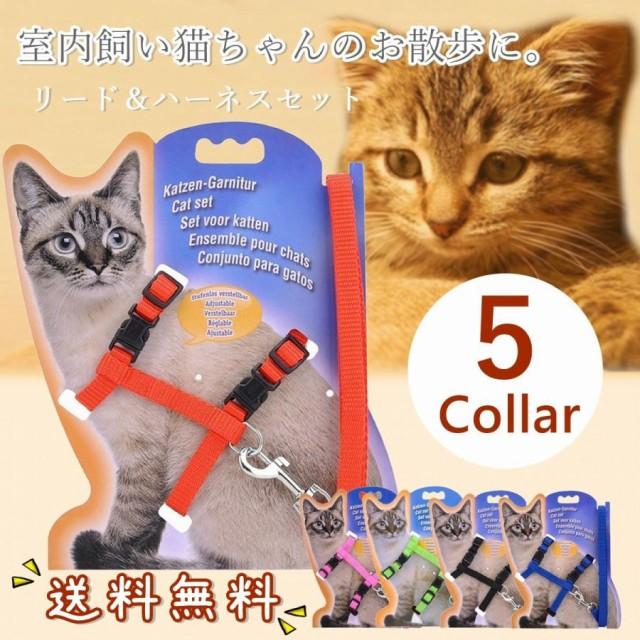 猫 猫用 リード ハーネス 猫のリード 猫用リード 一体型 ハーネスリード かわいい 蛍光 ナスカン 人気 5色 安い 送料無料