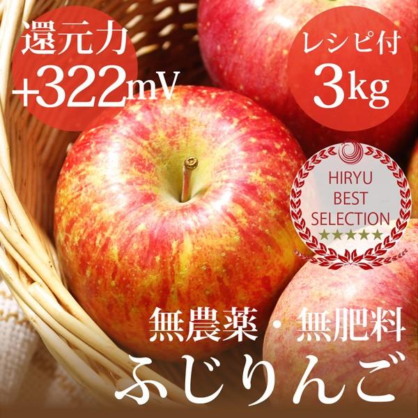 リンゴ ふじりんご 3kg 自然栽培(無農薬・無肥料...