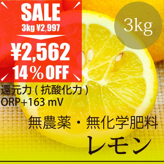 希少! 無農薬レモン 3kg 熊本県産 無農薬・無化...