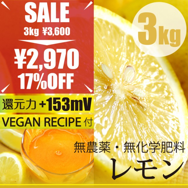 レモン3kg 無農薬・無化学肥料 ヴィーガンレシピ...