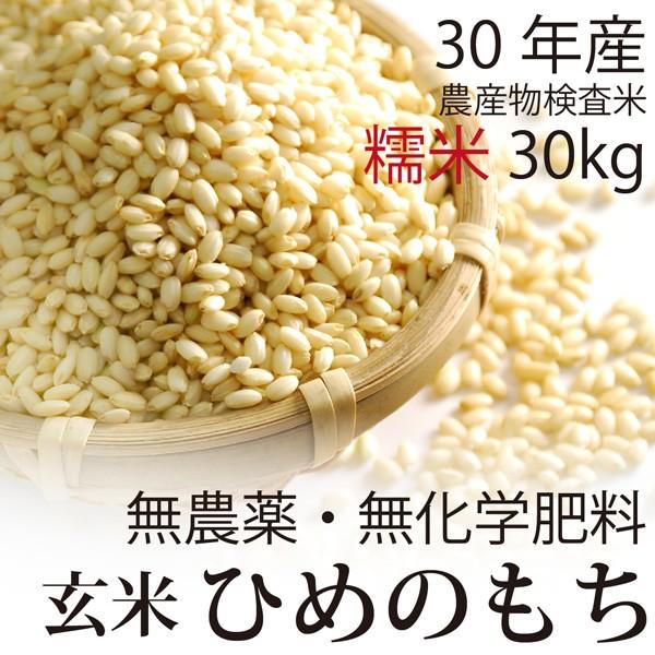 【30年産 新米】無農薬 もち米 玄米 30kg 無農薬...
