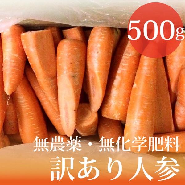 無農薬・無化学肥料 訳あり 人参 500g 北海道産