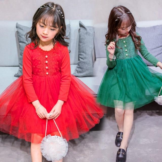 韓国子供服 女の子 ドレス 子ども服 長袖 ワンピ...