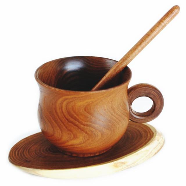 木製 コーヒーカップ ソーサー スプーン 付き...