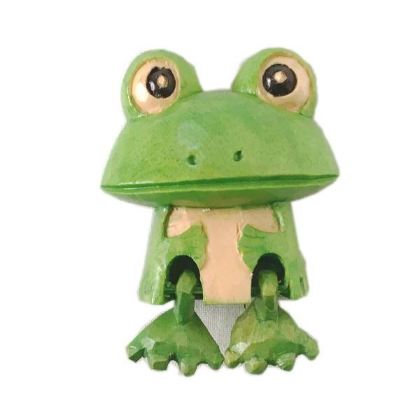 木製 マグネット カエル 緑 木彫り かえる ...