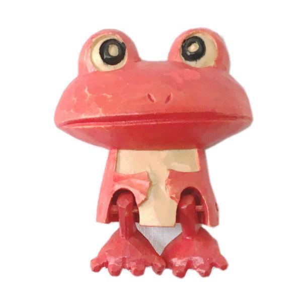 木製 マグネット カエル 赤 木彫り かえる ...