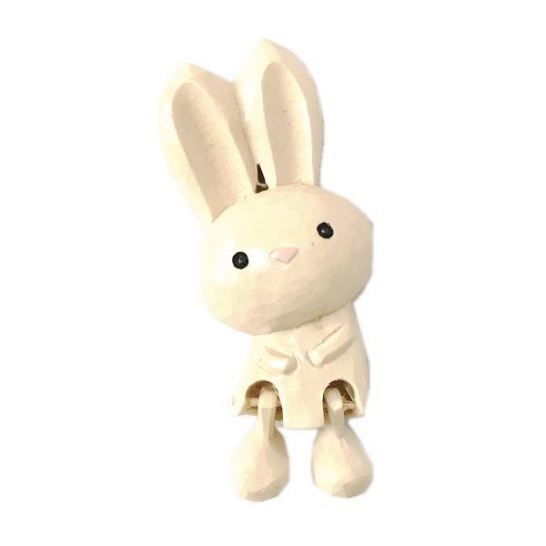 木製 マグネット ウサギ ピックン 木彫り う...
