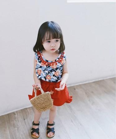 【取寄せ】水彩花柄 タンクトップ&フリルデザイ...