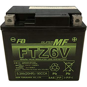 FTZ6V(YTZ6V)12V5.0Ahシールド型 バイク用バッテ...