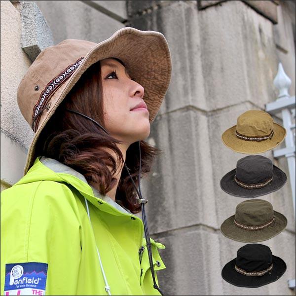 サファリハット ドローコード付き  帽子 紫外線カ...