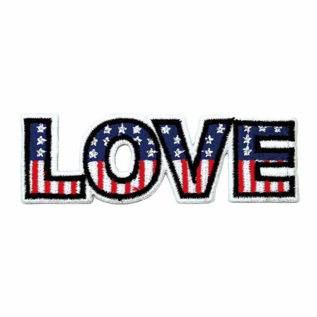 ワッペン アイロン LOVE USA アメリカ アッ...