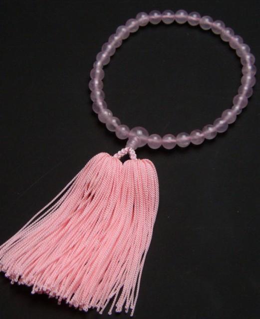 数珠 子供用 紅水晶 (ローズクォーツ)7ミリ玉共...