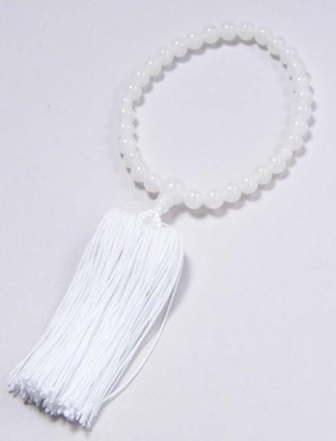 ◆子供用 数珠 ホワイトオニキス 7ミリ玉共仕立 ...