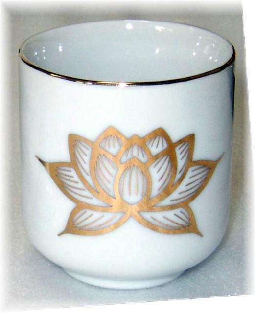 白上金蓮 湯呑 2.0号 ( 陶器 製) / 金色の蓮が描...