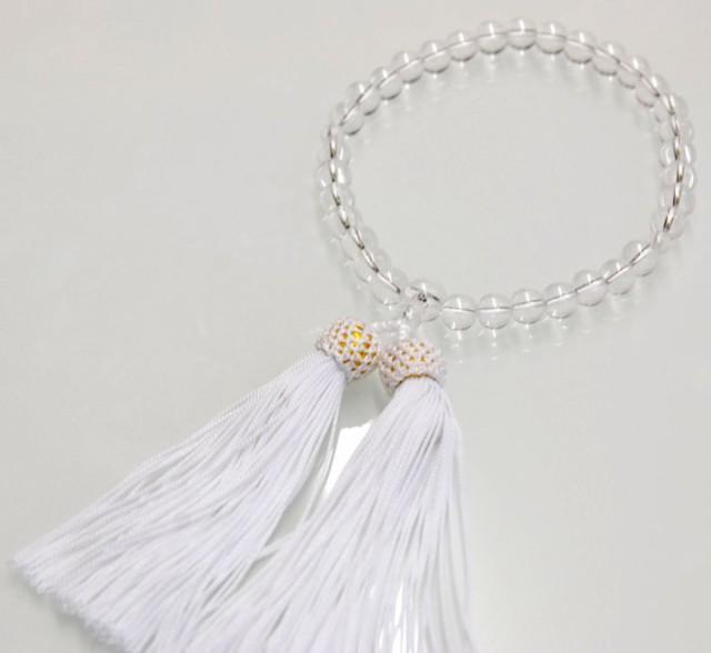 数珠 ガラス 水晶調 8ミリ珠共仕立人絹白色(袋入)...