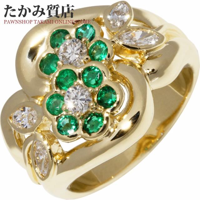 K18YG エメラルド0.47ct ダイヤ0.50ct 花 指輪