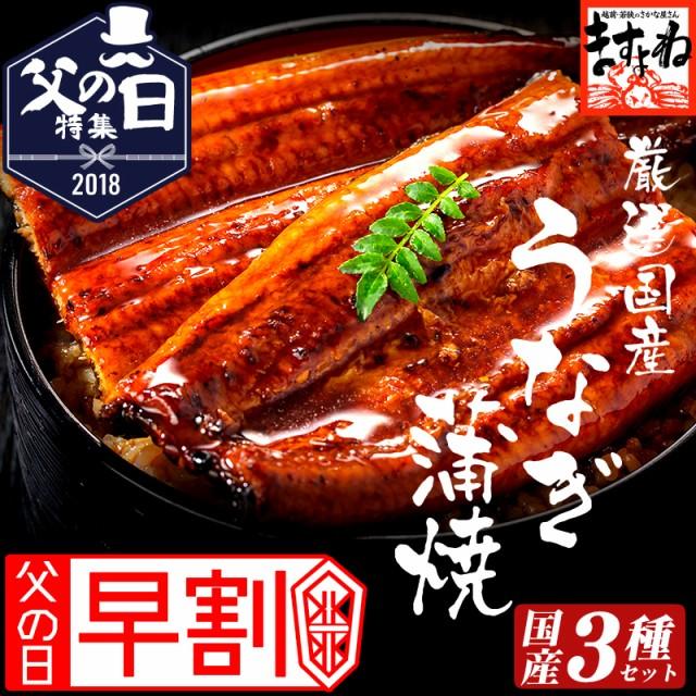 【お中元早割】国産 特大うなぎ蒲焼き豪華3種類詰...