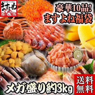 【早割特価】本ずわい蟹入り!海鮮グルメ10種セット特盛3kg 豪華ますよねセット〜海鮮10種類の福袋version〜 本ずわい蟹 上級いくら 甘海