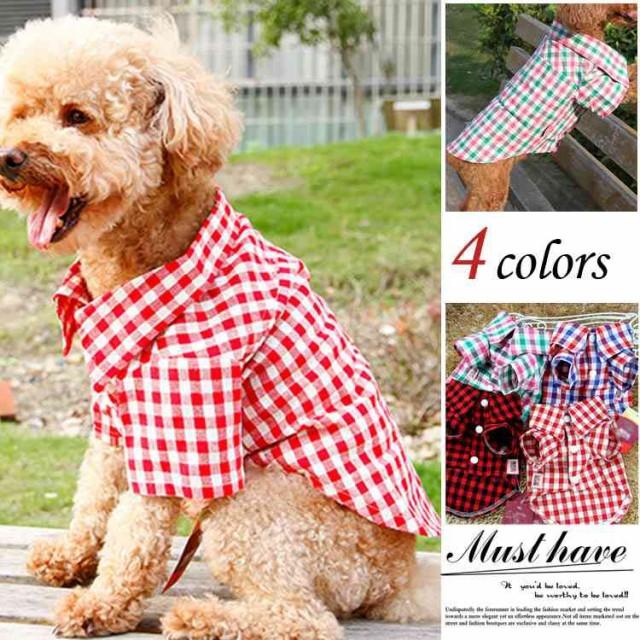 犬の服  チェック柄のシャツ Tシャツ 犬 服...