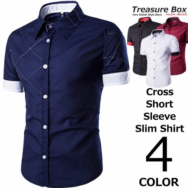 ワイシャツ メンズ 半袖 スリム クロス