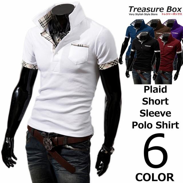 ゴルフウェア メンズ ポロシャツ 半袖 チェック
