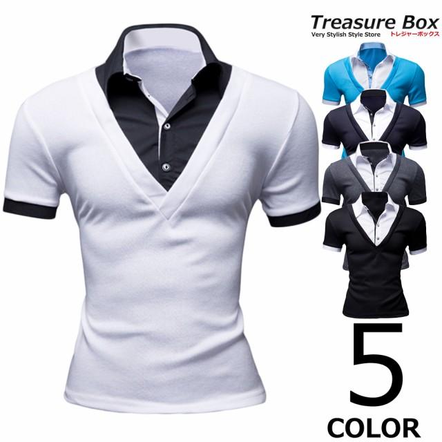 ゴルフウェア メンズ ポロシャツ 半袖 Vネック